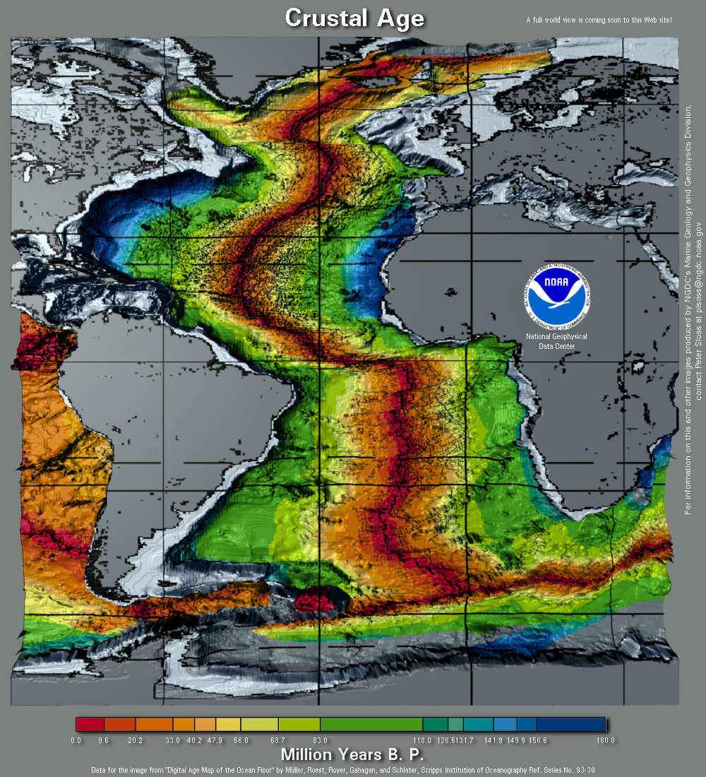 Atlanticageg map of the ages of the ocean floor gumiabroncs Images