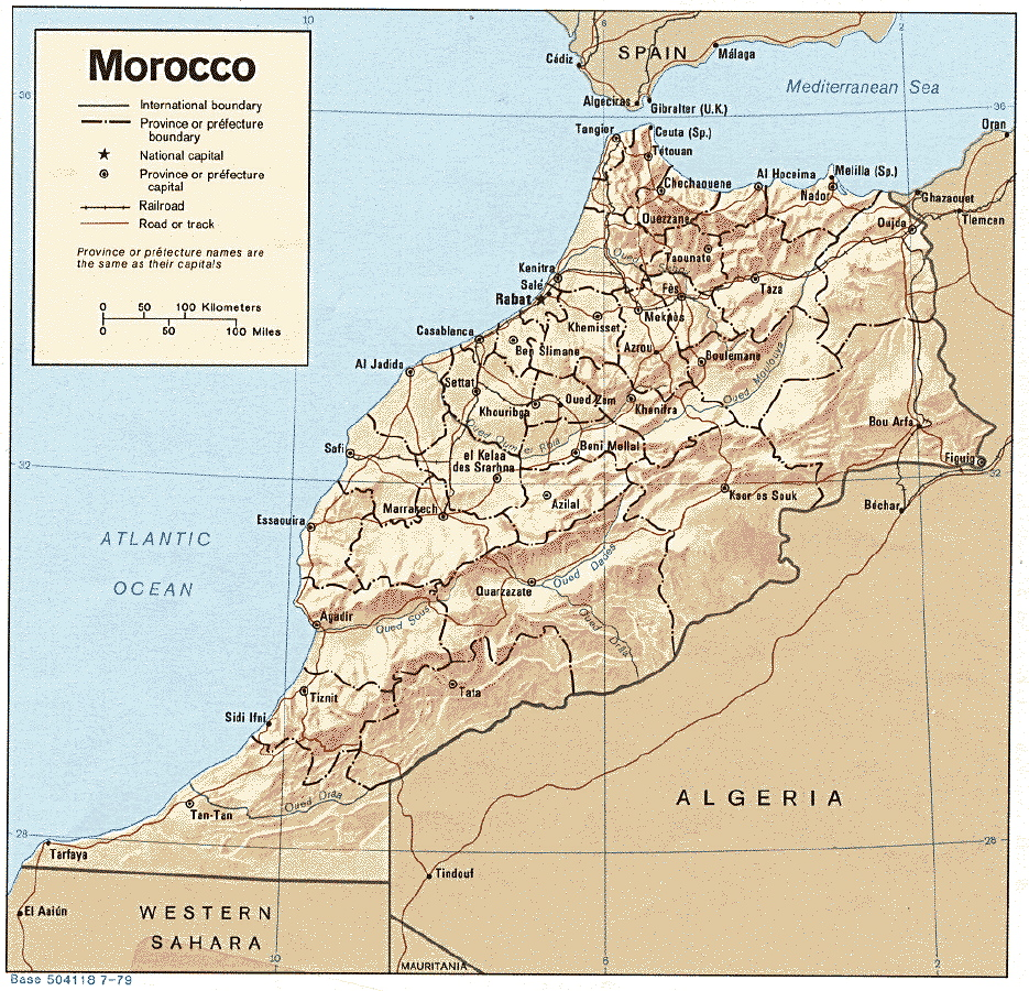 Morocco Physiographical Map